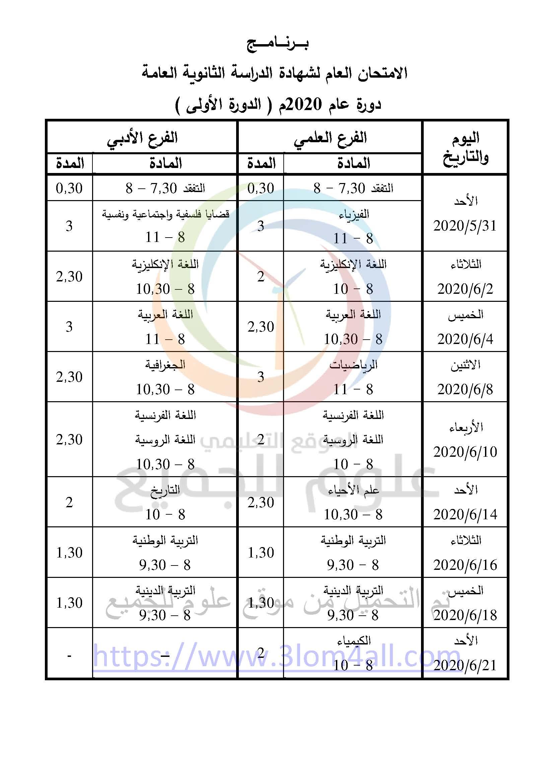بكالوريا 2020 برنامج امتحان البكالوريا الدورة الأولى سوريا