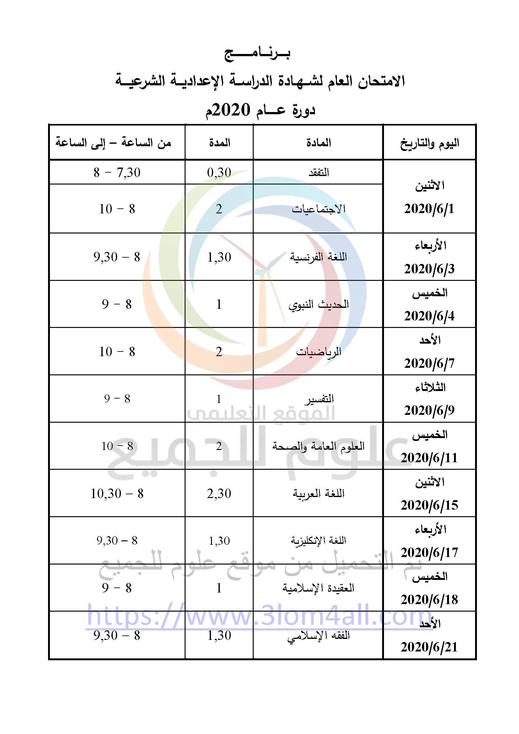 برنامج فحص التاسع 2020 المعدل سوريا - البرنامج الامتحاني لشهادتي التعليم الأساسي والإعدادية الشرعية لعام 2020