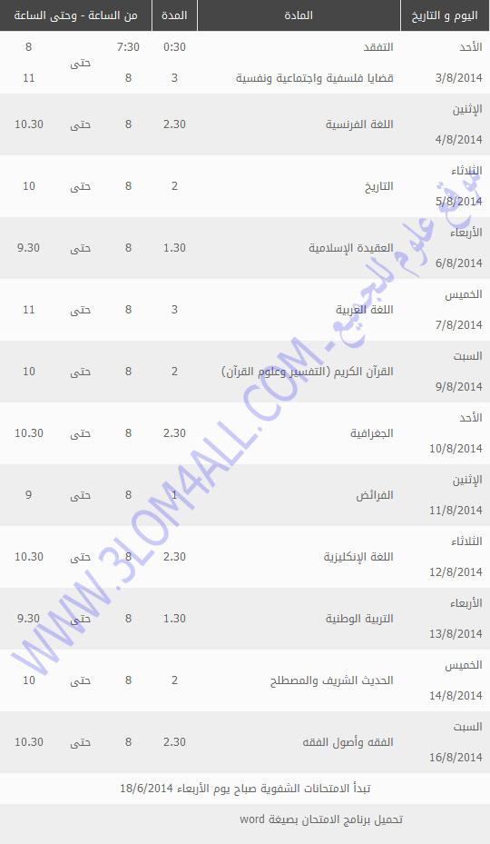 برنامج امتحان الدورة الثانية البكالوريا سوريا 2014