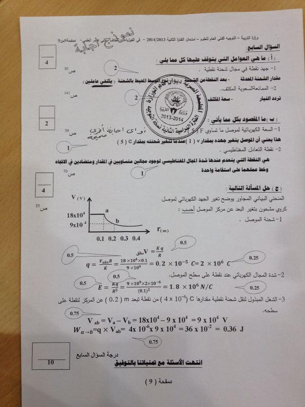 نموذج اجابة ثاني عشر علمي فيزياء الفترة الثانية 2014