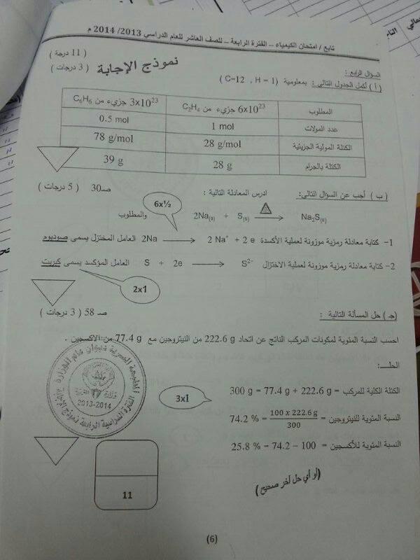 نماذج اختبارات الصف العاشر نموذج اجابة امتحان كيمياء الفترة الرابعة 2014