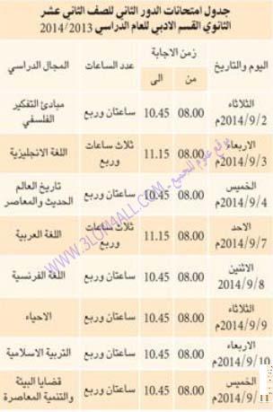 جدول امتحان ثاني عشر الدور الثاني 2014