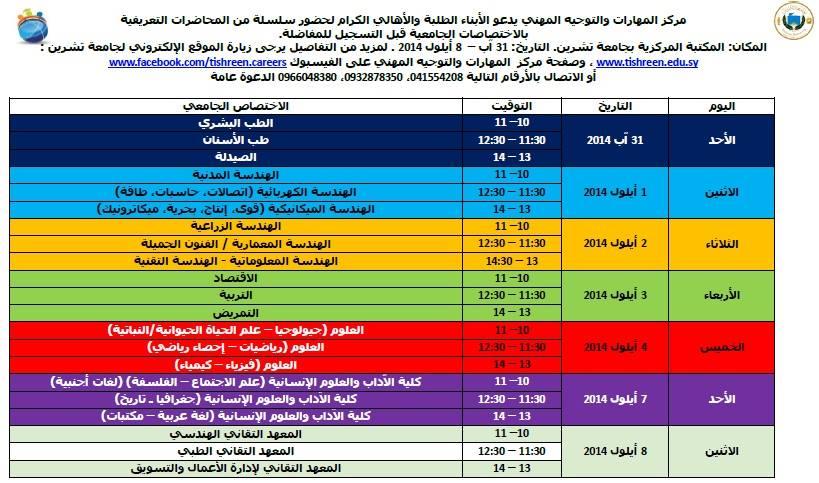 مركز المهارات والتوجيه المهني في جامعة تشرين 2014 - 2015