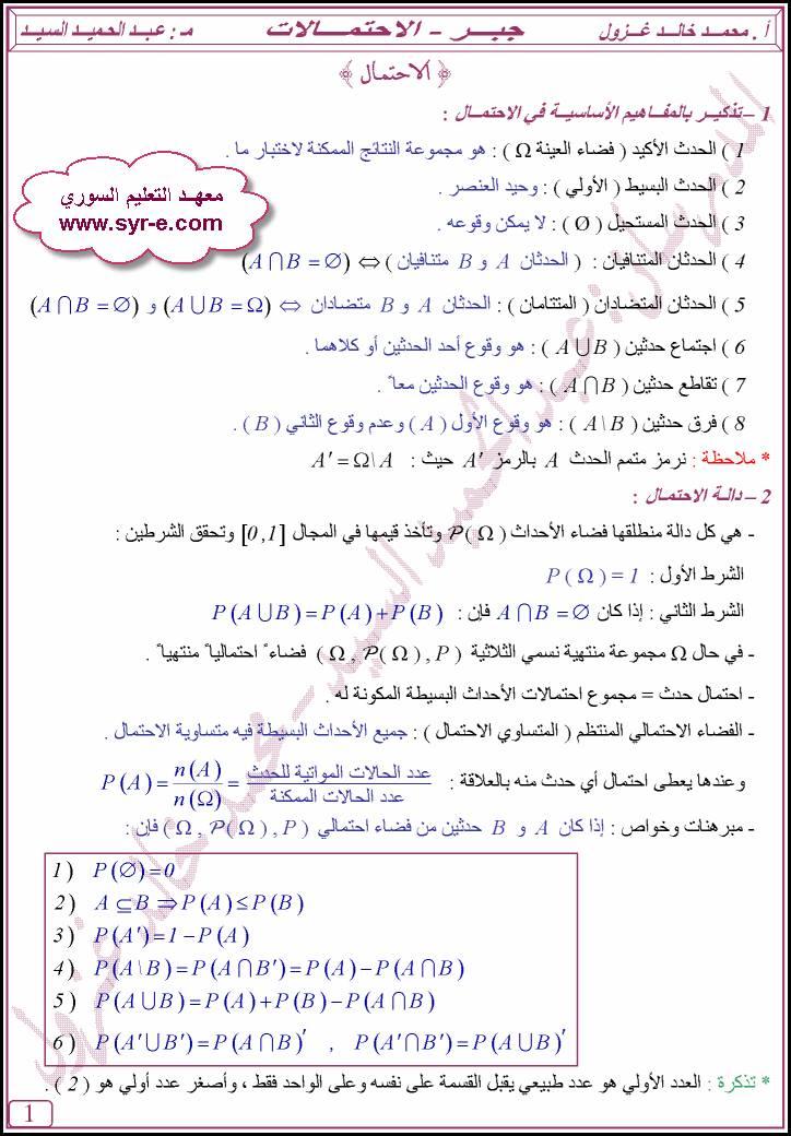 الرياضيات البكالوريا, موجز الجبر