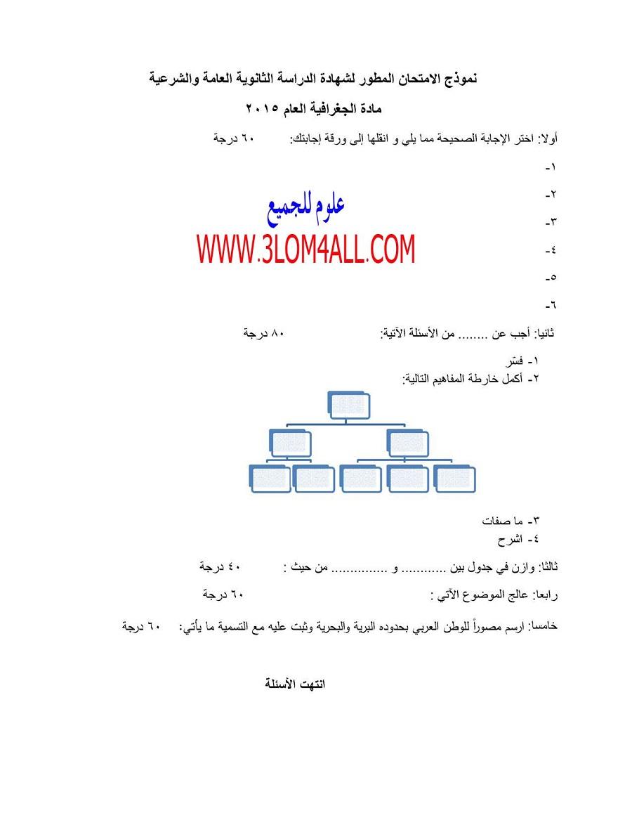 نموذج امتحان الجغرافيا البكالوريا 2015 وزارة التربية السورية