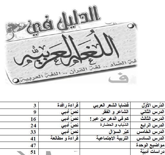 شرح الوحدة الاولى من كتاب اللغة العربية و آدابها - بكالوريا عربي