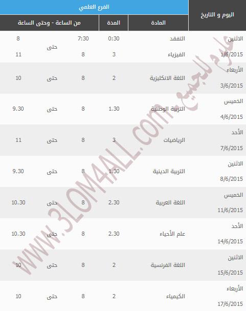 البكالوريا 2015 سوريا - برنامج امتحان البكالوريا سوريا 2015