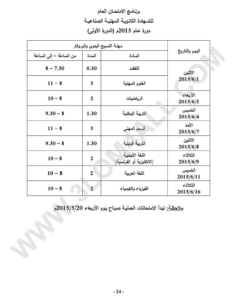 برنامج امتحان البكالوريا المهني في سوريا 2015  تجارة - صناعة - نسوية - مهني - الثالث الثانوي سوريا