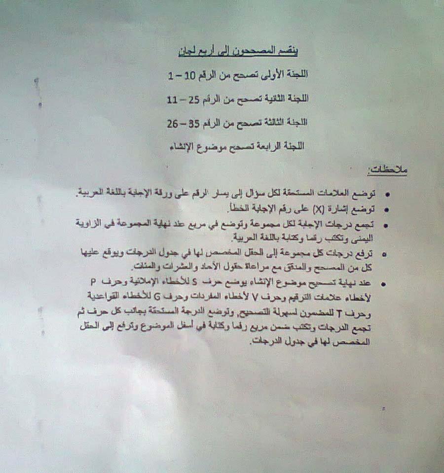 سلم تصحيح الانجليزي التاسع 2015 - تربية محافظة طرطوس