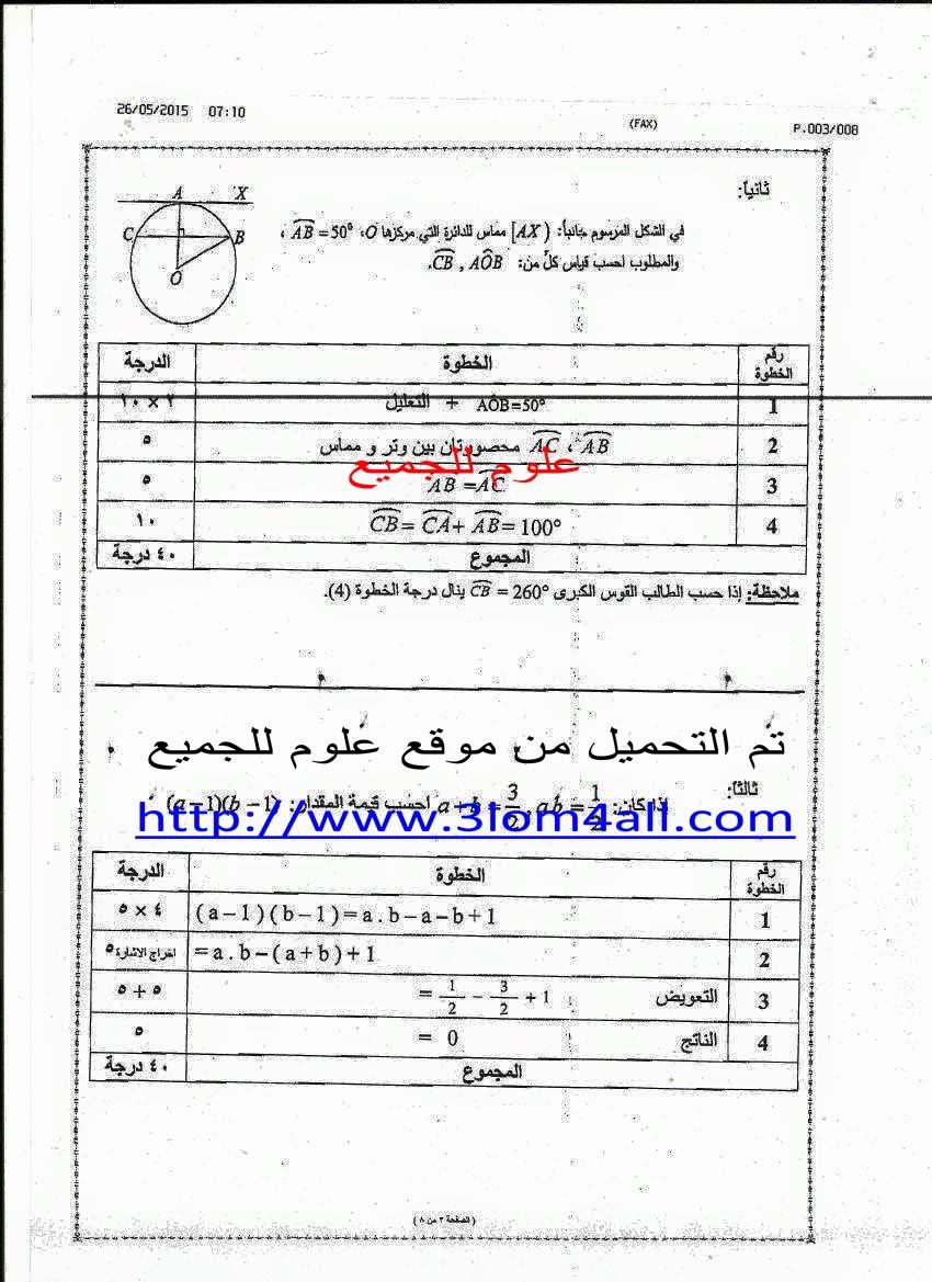رد: سلم تصحيح الرياضيات التاسع 2015 - سلم تصحيح ريف دمشق