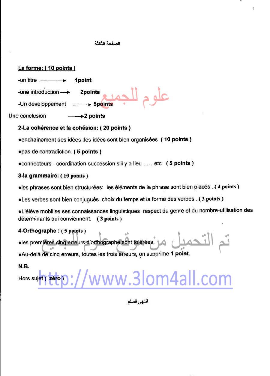 رد: سلم تصحيح الفرنسي التاسع 2015 - تربية القنيطرة