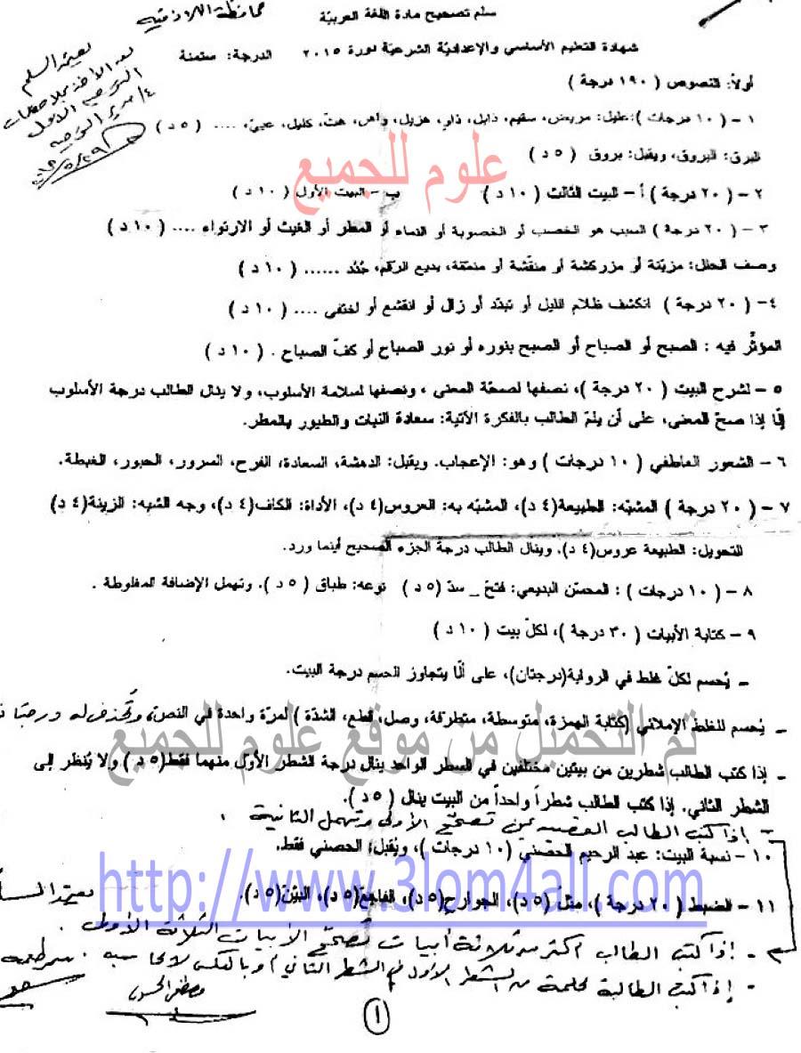 سلم تصحيح العربي التاسع 2015 - تربية اللاذقية