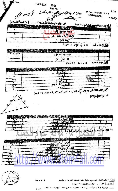 سلم تصحيح الرياضيات التاسع 2015 - تربية محافظة حمص