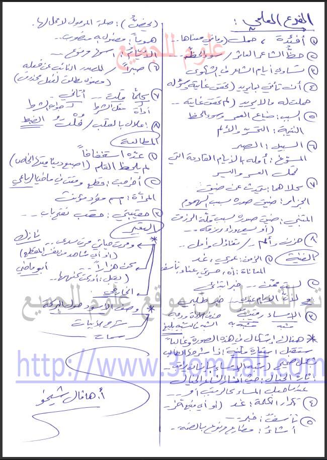 حل اسئلة اللغة العربية البكالوريا العلمي 2015 - اسئلة الدورات الدورة الاولى