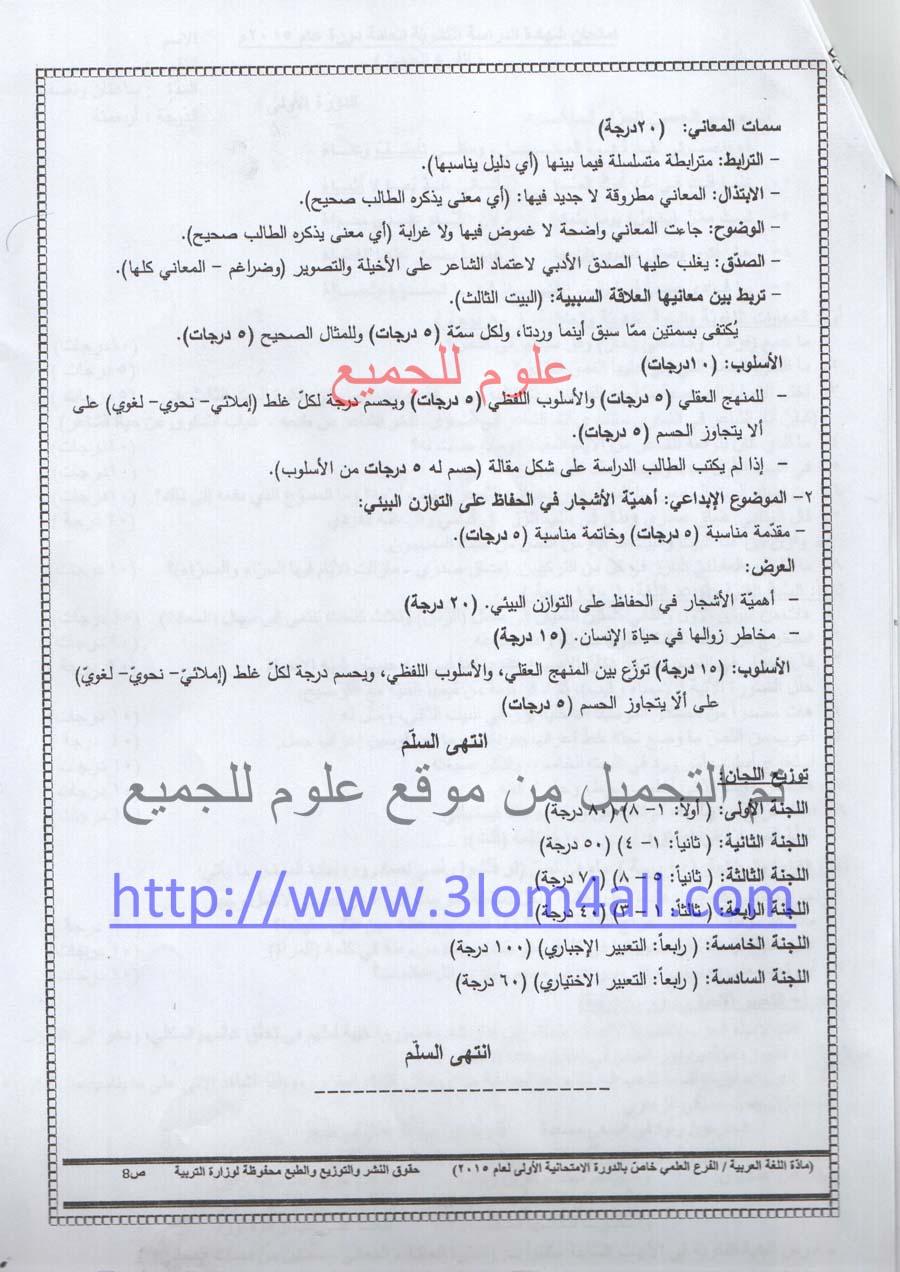 سلم تصحيح اللغة العربية البكالوريا العلمي 2015 الدورة الاولى - سلالم تصحيح البكالوريا