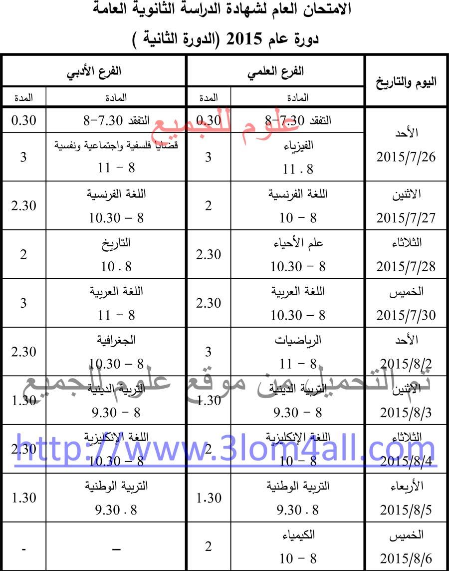 برنامج فحص البكالوريا الدورة الثانية 2015 في سوريا