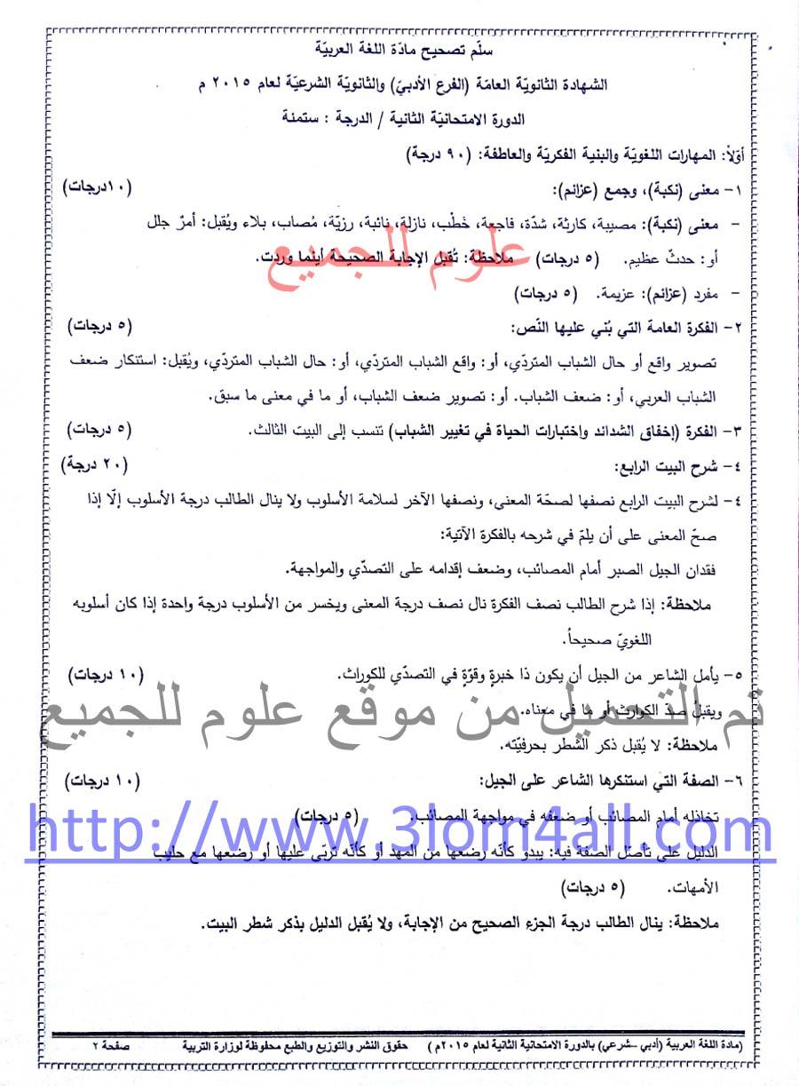 سلم تصحيح اللغة العربية الدورة الثانية البكالوريا الأدبي 2015 - سلالم تصحيح الثانوية العامة