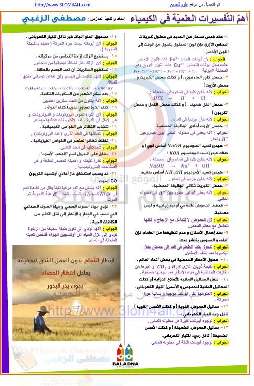 أهم التفسيرات العلمية في الكيمياء - التاسع كيمياء أ.مصطفى الزغبي