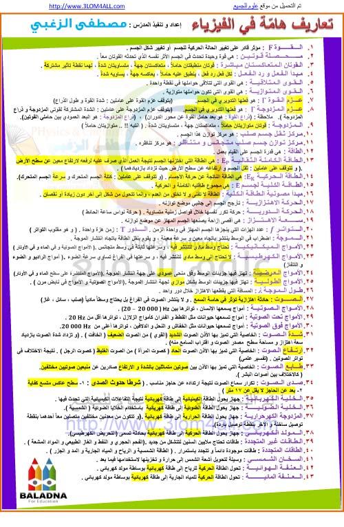 تعاريف هامة في الفيزياء - التاسع فيزياء أ.مصطفى الزغبي