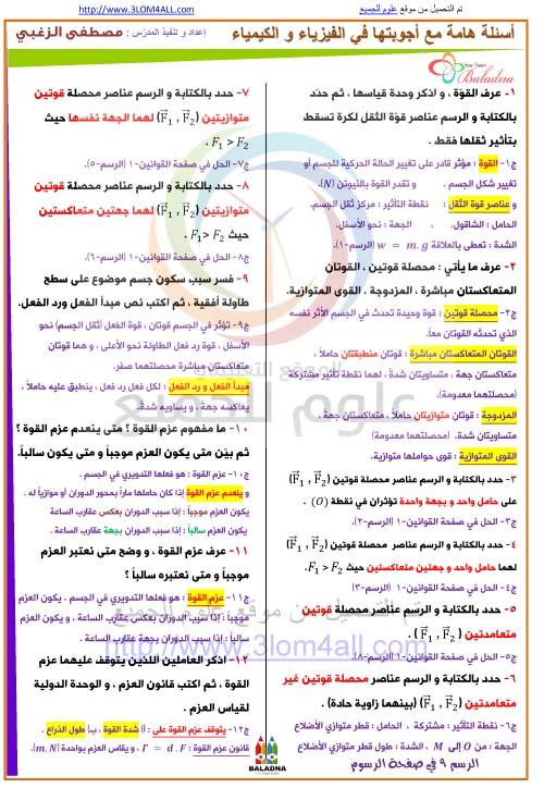أسئلة هامة مع أجوبتها في الفيزياء و الكيمياء  أ.مصطفى الزغبي