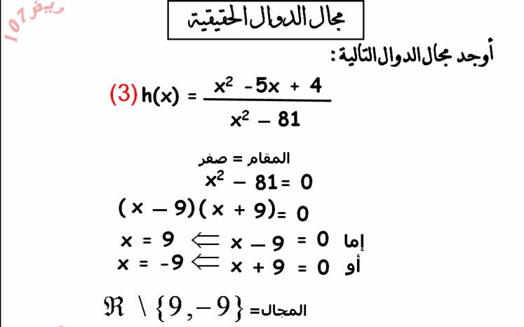 شرح درس مجال الدالة الحقيقية  مادة الرياضيات صف حادي عشر علمي