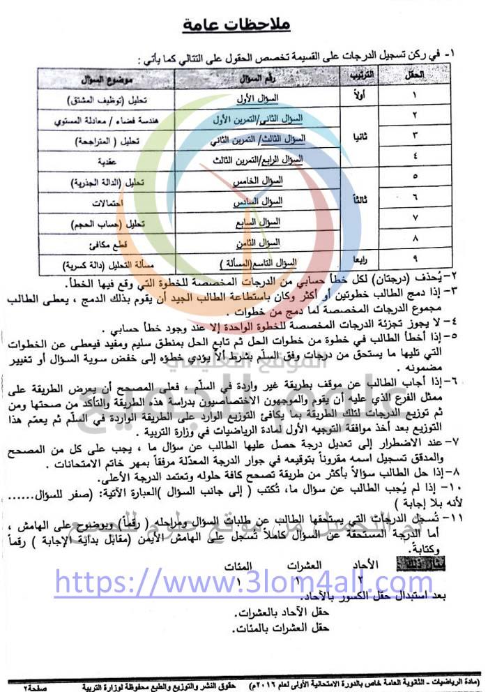 سلم تصحيح الرياضيات البكالوريا 2016 دورة اولى سوريا