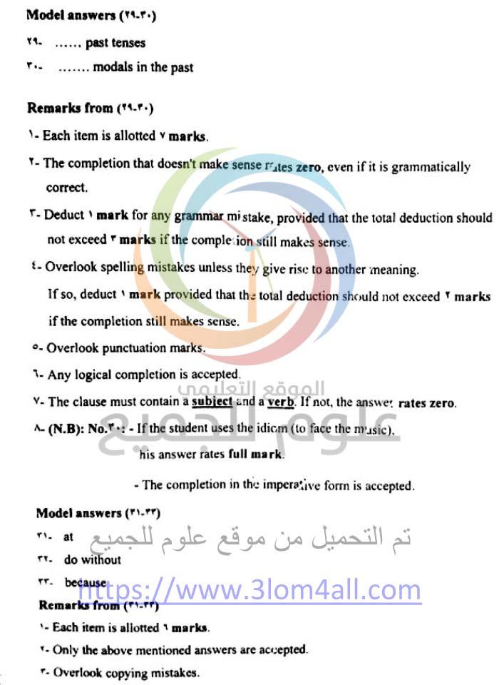 سلم تصحيح الانجليزي البكالوريا 2016 العلمي دورة اولى سوريا