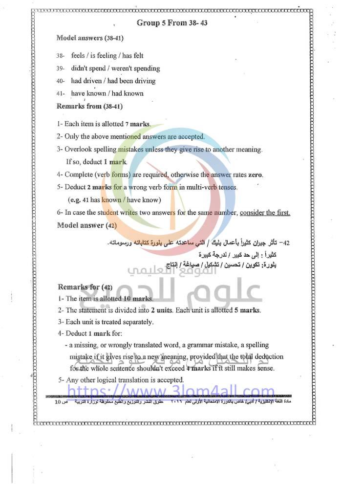 سلم تصحيح الانجليزي البكالوريا 2016 الادبي دورة اولى سوريا
