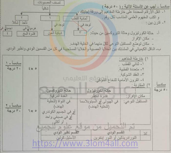 سلم تصحيح علم الاحياء البكالوريا 2016 دورة اولى سوريا