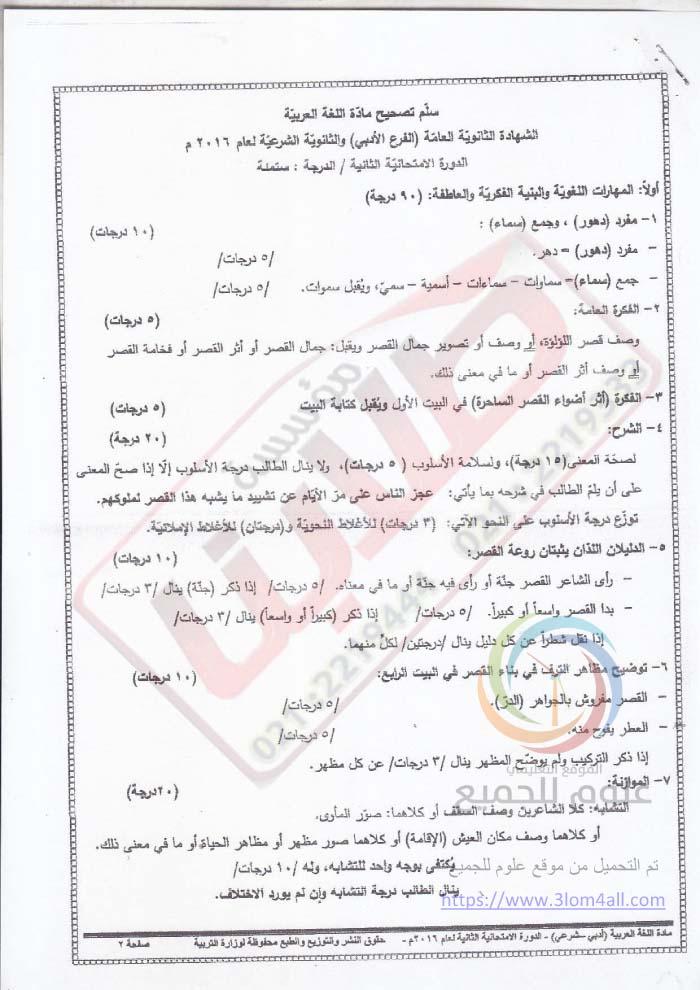 سلم تصحيح العربي الدورة التكميلية البكالوريا 2016 الادبي سوريا