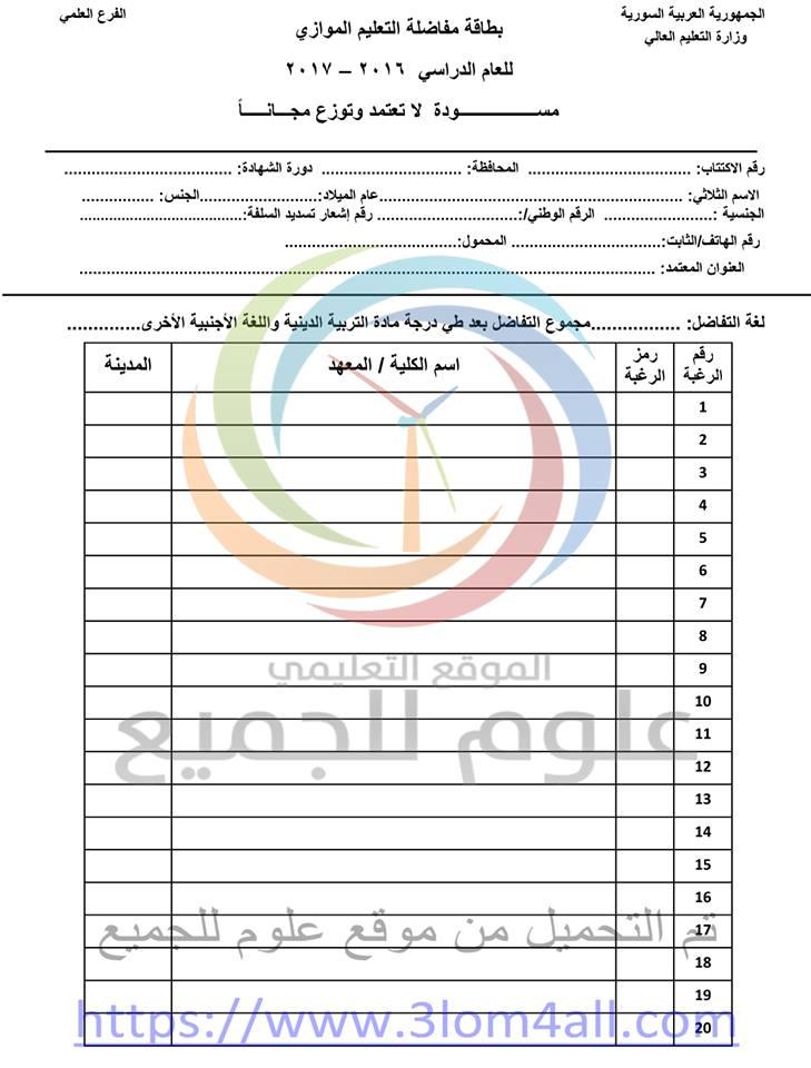 مفاضلة الموازي كيفية التسجيل في مفاضلة الموازي 2018 - 2019 الموازي سوريا