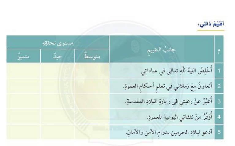 حلا لدرس العمرة احد دروس التربية الاسلامية الفصل الثاني الصف الثامن  في الامارات