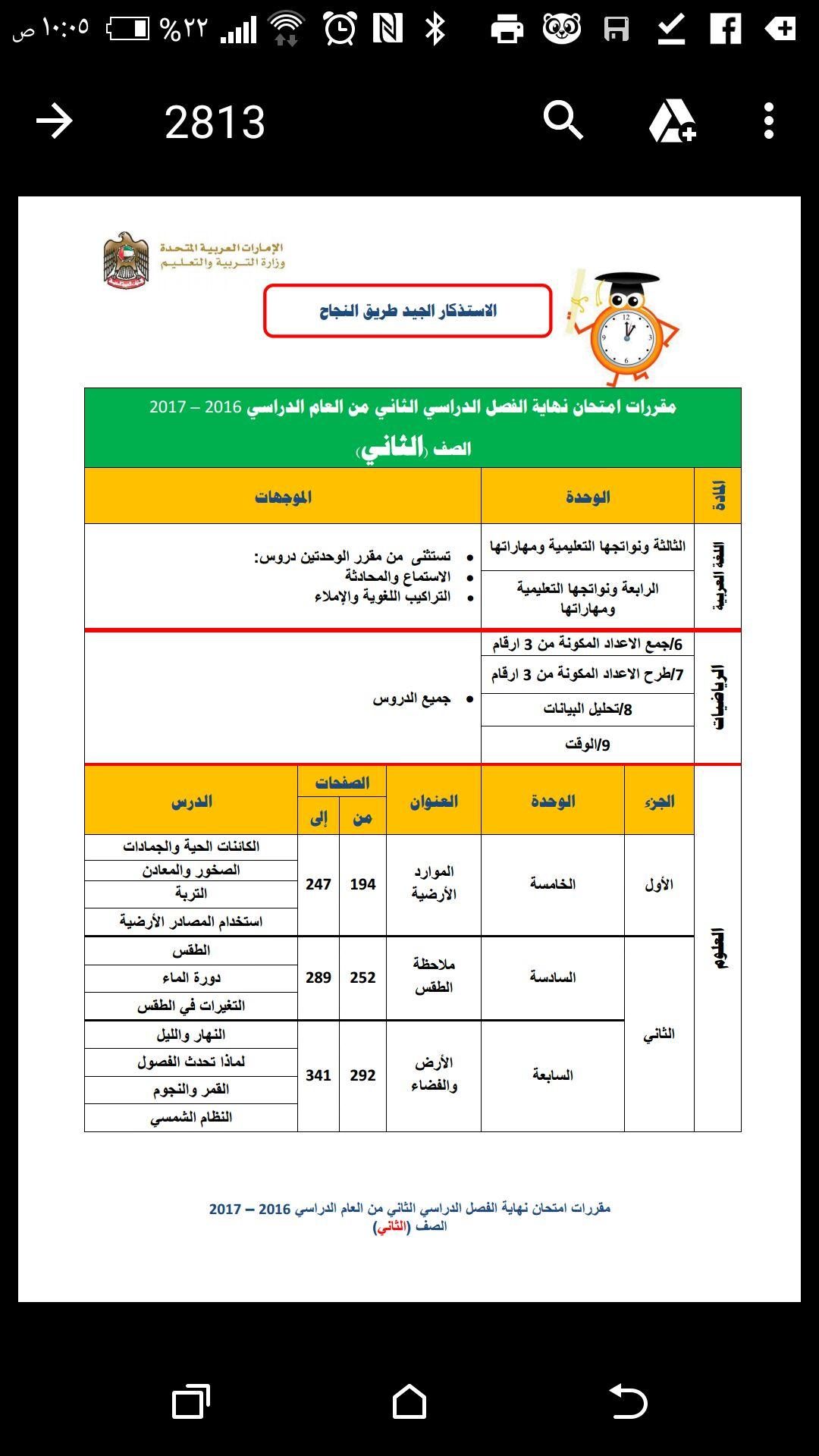 مقررات امتحان نهاية الفصل الدراسي الثاني لصف الثاني في الامارات
