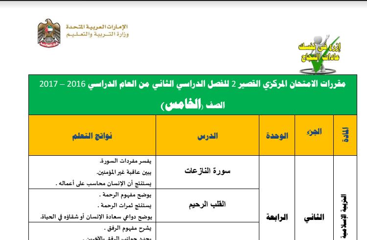 مقررات الامتحان المركزي القصير 2  للفصل الثاني  لصف خامس في الامارات