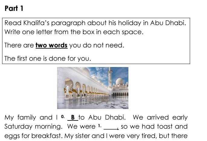 نموذج امتحان اللغة الانجليزية  لصف الرابع  في الامارات