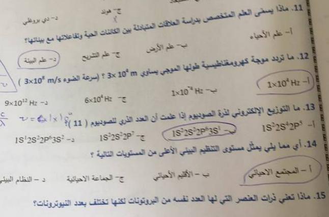 اوراق نموذج امتحان  محلول لمادة العلوم الفصل الثاني  لصف  التاسع في الامارات