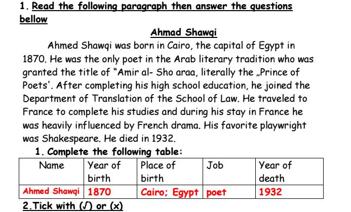 ملخص +اوراق عمل محلولة  لمادة اللغة الانكليزي الفصل الثاني لصف السابع في الامارا