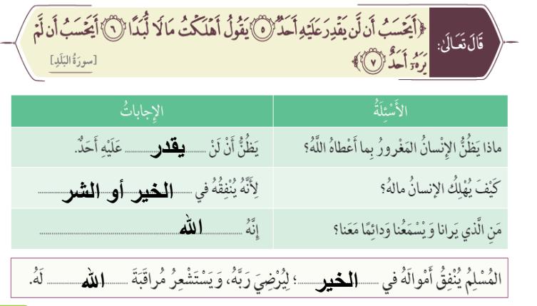 الدرس سورة البلد  لمادة التربية الاسلامية مع الاجابات  الفصل الثالث لصف الثاني في الامارات