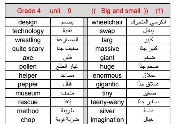 مفردات الوحدة التاسعة  لمادة الانكليزية  الفصل الثالث لصف الرابع   في الامارات