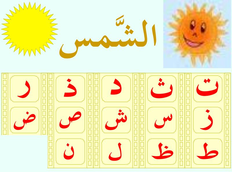 مذكرة تطبيقات عن اللام الشمسية واللام القمرية  لمادة اللغة العربية الفصل الثالث لصف الثاني .في الامارات