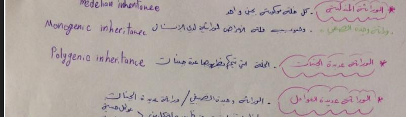 وراثة الفصل الثاني بشكل مخطط لطلاب السنة التحضيرية في سوريا