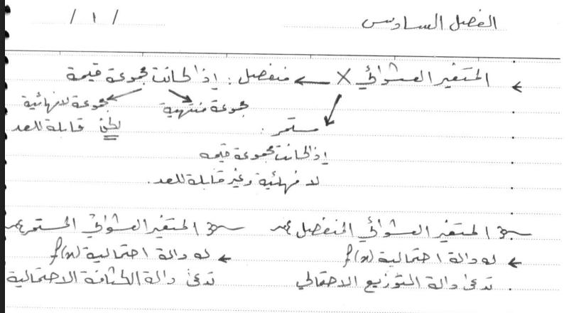 ملخص للفصل السادس احصاء لطلاب السنة التحضيرية في سوريا