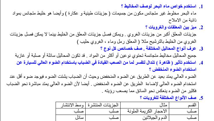 الاجابة التفصيلية لوجدة المخاليط والمحاليل 12 لفصل الثالث لمادة الكيمياء  لصف الحادي عاشر  في الامارات