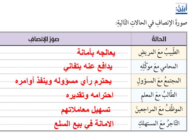 درس الانصاف في الاسلام  لمادة التربية الاسلامية الفصل الثالث  لطلاب الصف الحادي عشر في الامارات