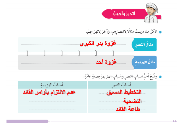 درس  غزوة حنين مع الحل لمادة التربية الاسلامية  لطلاب الصف الثامن في الامارات
