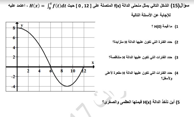 النظرية الاساسية للتفاضل والتكامل مادة الرياضيات الفصل الثالث لطلاب الصف الثاني عشر متقدم  في الامارات