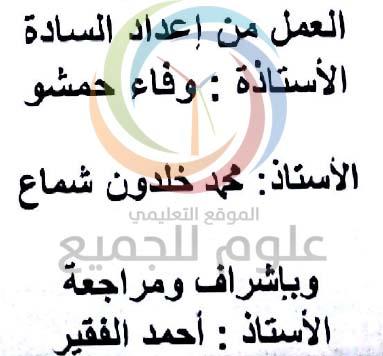 خلاصة الافكار الهامة في الرياضيات البكالوريا سوريا