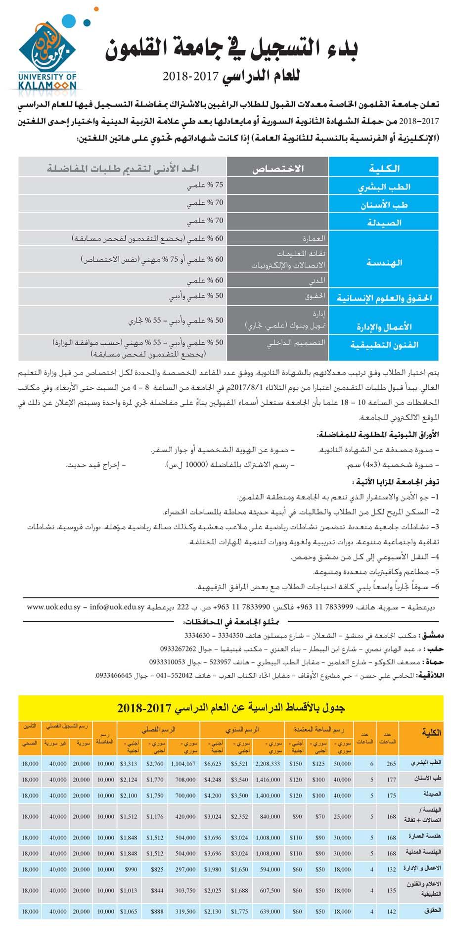 مفاضلة جامعة القلمون الخاصة بديرعطية 2017 - 2018