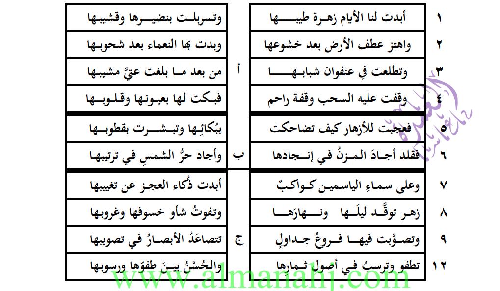لغة عربية وصف الطبيعة ثاني عشر أدبي
