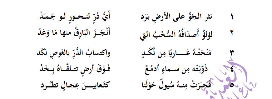 لغة عربية نص (نثر الجوّ على الأرض برد) + حل الأسئلة